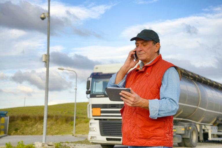 trucker making a phone call